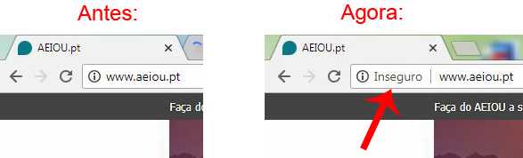 Site inseguro no Chrome